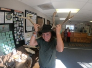 Erika channelling her spirit animal - the cycling mule deer. Taken at the Jenny Lake visitor centre