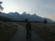 We left our stuff at our camp in Jenny lake and took a day trip to Jackson on the bike path. On the way back we rode past the sun setting over the Tetons