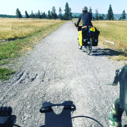 Yellowstone has a really cool 5 mile gravel path dedicated just to cyclists and hikers. It goes right by the Fairy Falls trailhead and the Grand Prismatic