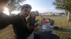 At the Dillon RV Park we treated ourselves to a stirfry, beer and a movie. Sometimes you just miss pre-touring routines :)